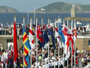 Guernsey 2003, NatWest Island Games opening ceremony St Peter Port harbour. 28-06-03..The flags of the participating islands add colour to the opening proceedings...PIC: Dave Pearson..REF: 0001118. (28733125)