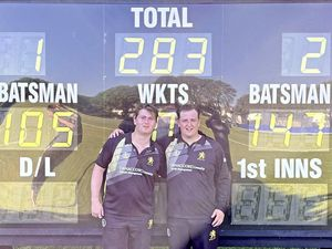 Cousins Nathan Le Tissier, left, and Luke Le Tissier both hit centuries as Griffins beat OEA at the College Field in the Weekend Championship, 05-06-21..Picture from Griffins Cricket Club. (29625328)