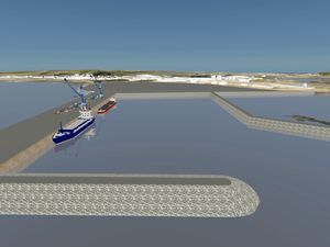 A 3D representation of the preferred option for the harbour redevelopment, a new facility south of the Longue Hougue land reclamation site. (Image supplied by STSB and Guernsey Ports)