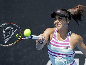 Britain's Heather Watson makes a forehand return to Croatia's Petra Martic during their first round match at the Australian Open tennis championships in Melbourne, Australia, Monday, Jan. 14, 2019. (AP Photo/Mark Schiefelbein) (23831319)
