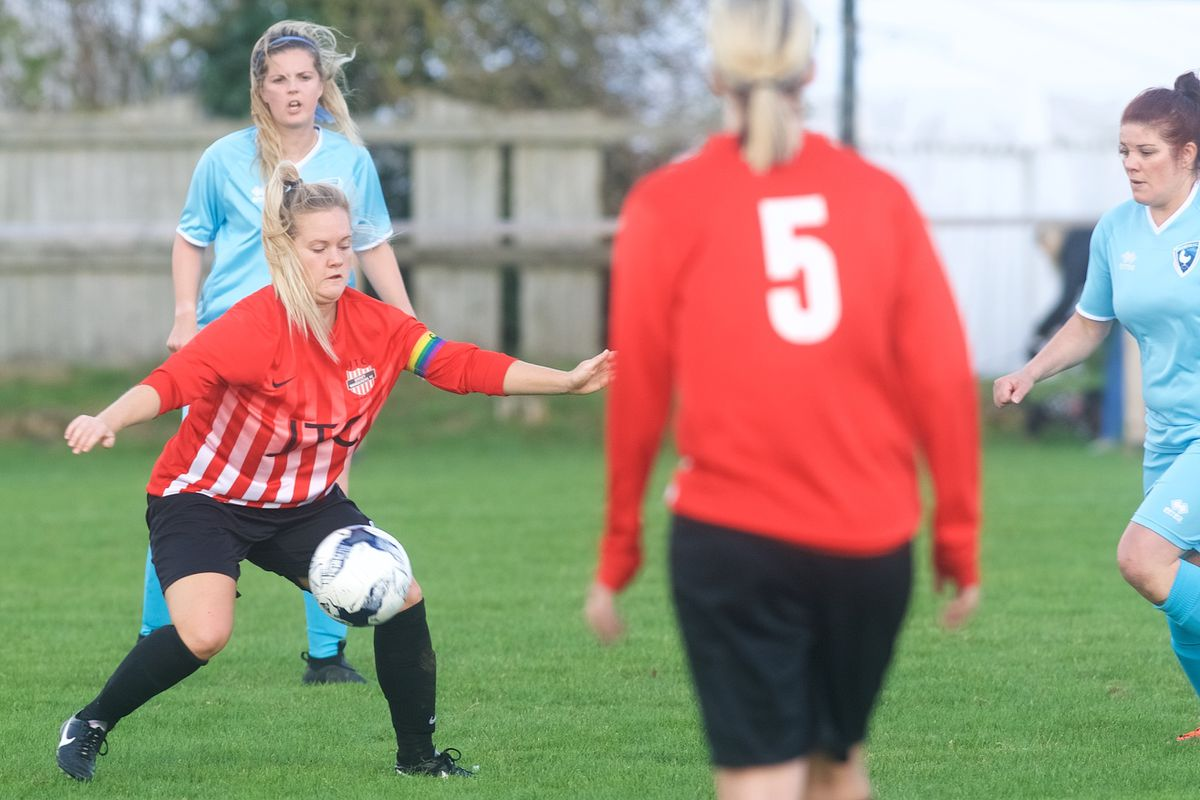The new CI League women's football has set a good platform for the reintroduction of the Women's Muratti, according to Donna Gallienne, who is pictured playing for North Ladies, back left, against Wanderers. (Picture by Jon Guegan, 26749596)