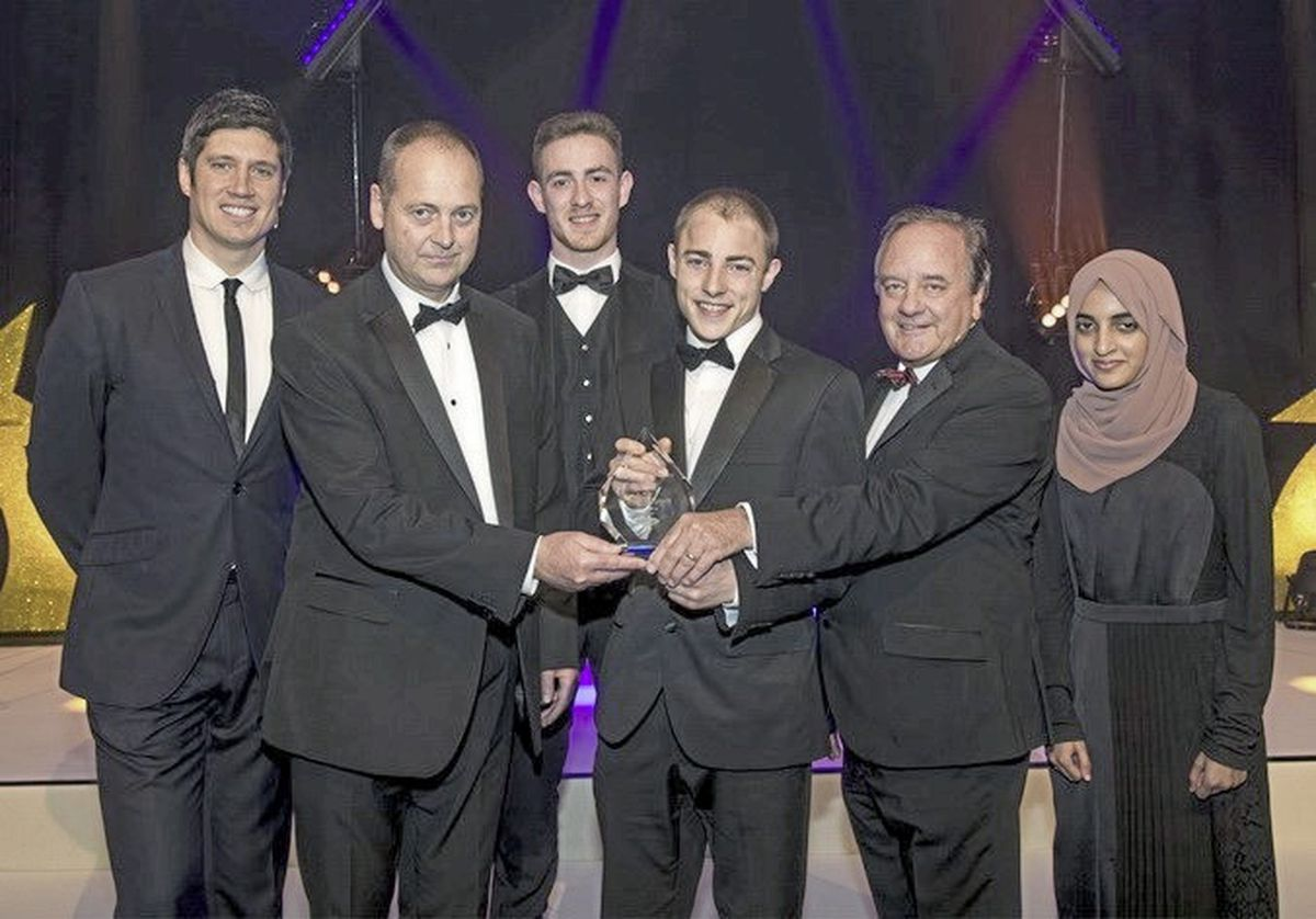 Olly being congratulated by TV personality, Vernon Kay, general manager for Channel Islands, Jonathan Bell, TrustFord CEO, Stuart Foulds and the award sponsors (Paul Starr, 25732688)