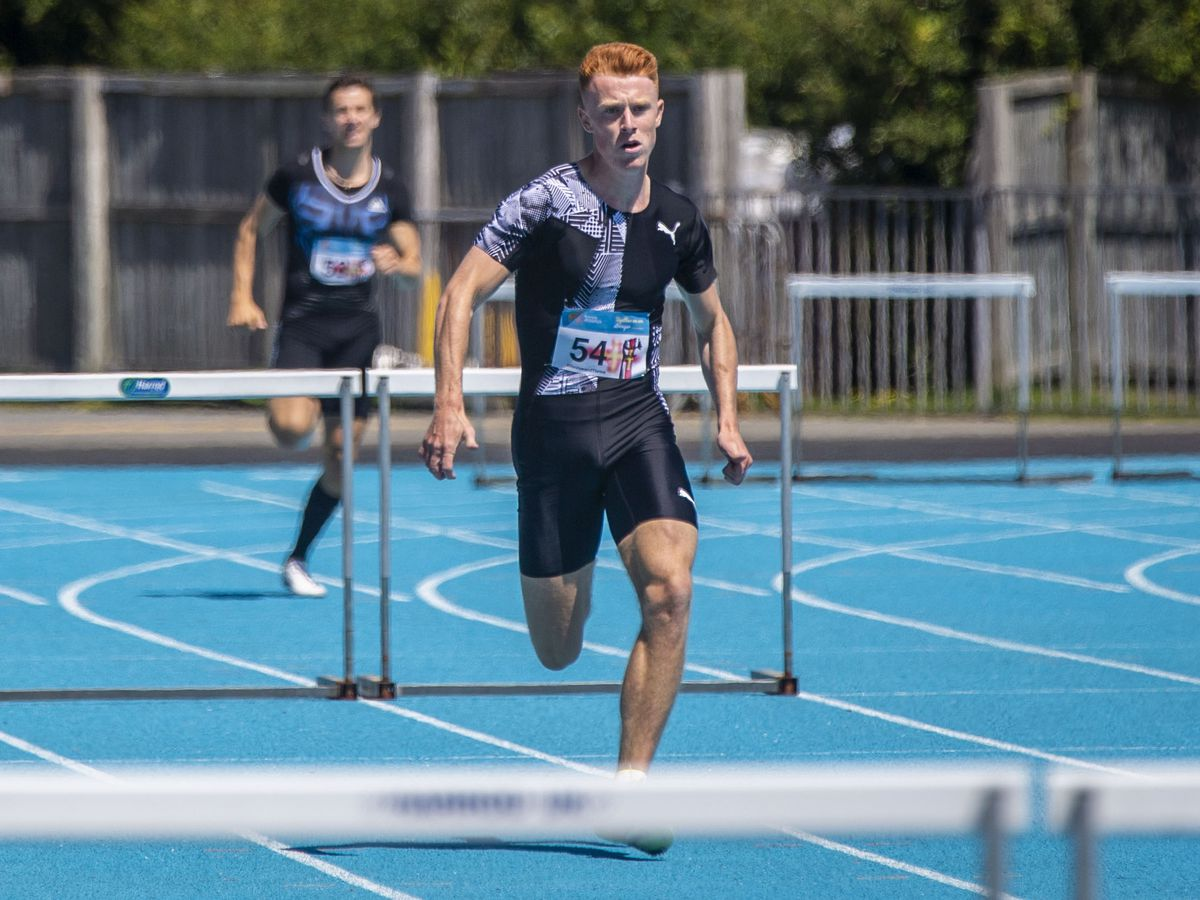 Alastair Chalmers storming to victory in the 300m hurdles race earlier this month. (Picture by Sophie Rabey, 28494842)