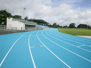 Pic by Adrian Miller 25-09-19.Footes lane athletics track..Show around of the new blue track with athletics development officer Tom Druce .. (28237940)