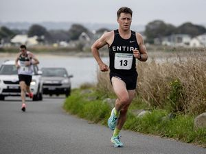 Pic supplied by Andrew Le Poidevin: 26-09-2021...The Butterfield Half Marathon. Josh Lewis pulling clear. (30024536)