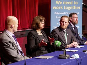 Left to right: Chief minister Gavin St Pier, director of public health Dr Nicola Brink, chief executive Paul Whitfield and chief operating officer Jason Moriarty explaining the new travel restrictions at a press conference at Beau Sejour on Tuesday. (Picture by Sophie Rabey, 27518933)