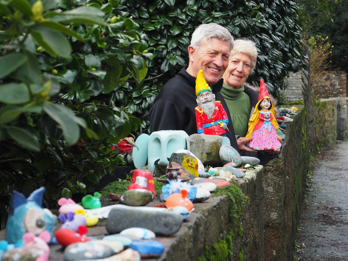 Sam and Marion Marsh have a collection of stones and pebbles that have been painted mainly by children on the wall near their house in St Martin's. (Picture by Tony Curr, 29211941)