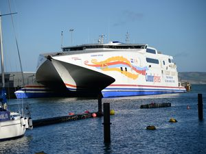 Condor Vitesse in Weymouth harbour. (Picture by Dorset Echo)