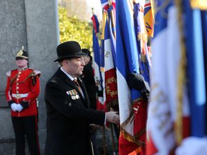 Chris Oliver, chairman of the RGLI charitable trust, at the ceremony to unveil the memorial in France in November 2017.(Picture by Peter Frankland, 26480114)