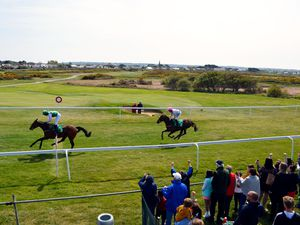 Horse racing - Guernsey Race Club meeting at L'Ancresse, 06-05-19. Race 1 - No. 3 Herm (Philip Prince) owned by Trevor Gallienne wins.Picture by Gareth Le Prevost. (29936340)