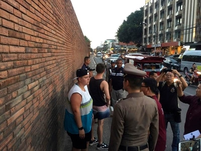 British tourist faces 10-year jail term for 'spray-painting' ancient Thai wall