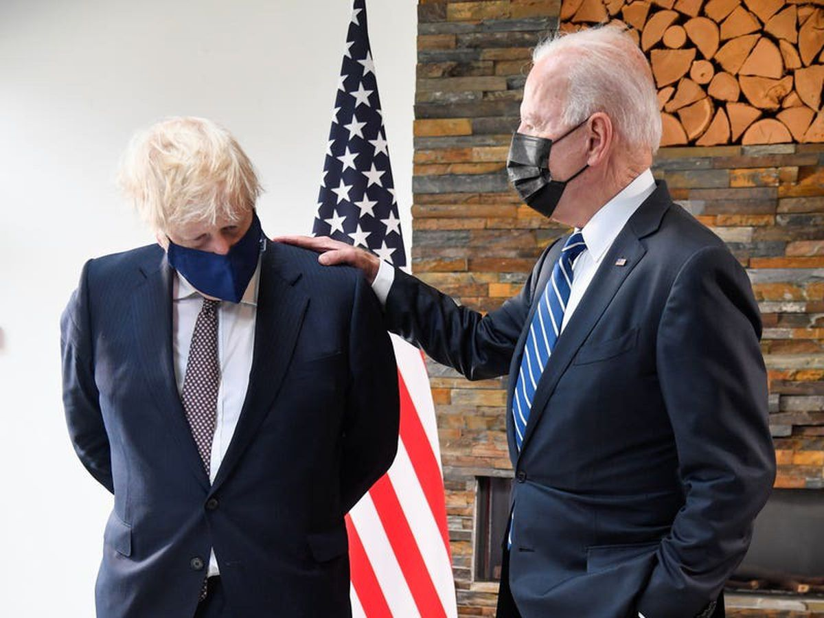 Transcript of Johnson's pool clip following meeting with Biden