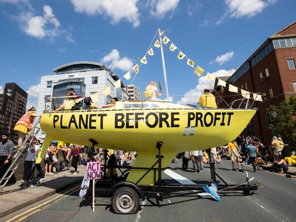 Extinction Rebellion block Dublin rush-hour traffic in climate action protest