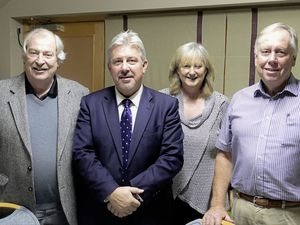 Among his Policy & Resources duties, Deputy Mark Helyar, second left, is responsible for Bailiwick matters. On a visit to Alderney he met politicians and officers of the island's Chamber of Commerce, left to right, Nigel Lawrence and Ann Hodgson, joint vice-presidents, and president Andrew Eggleston. (Picture by David Nash)