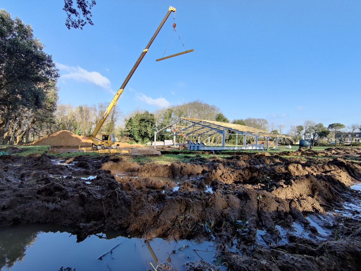 The construction of the new Sark Dairy is underway, thanks to funds raised by the Sark Dairy Trust. Image shared by Sark Community Dairy Twitter. (29102884)