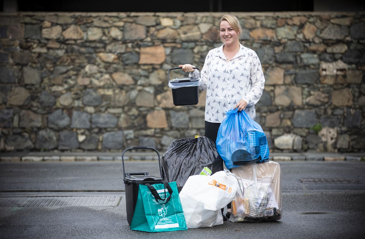 Guernsey Waste operations manager Sarah Robinson is keen to reduce the cost of replacing missing food caddies and glass bags. (Picture by Peter Frankland, 29280542)