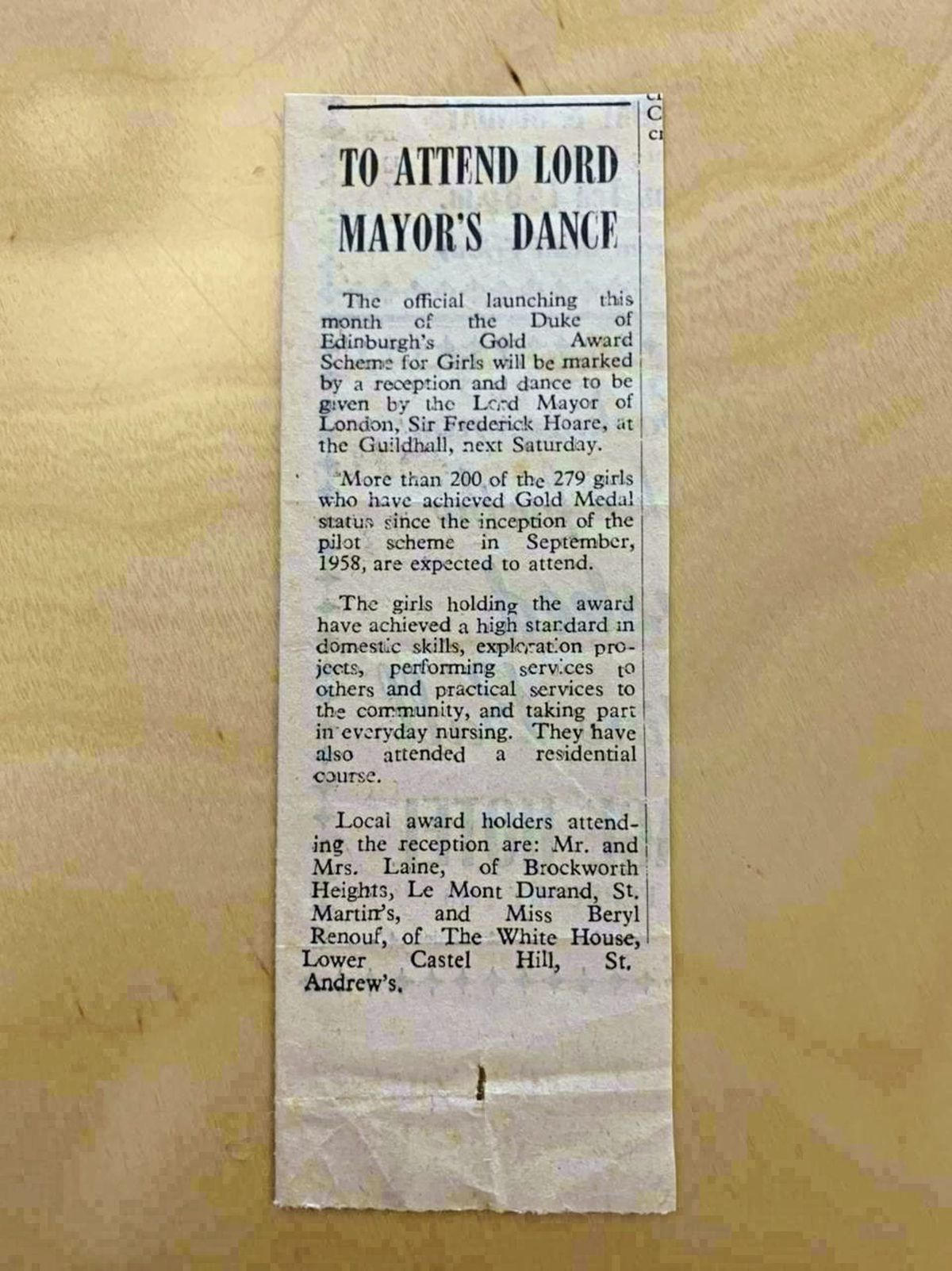 A Guernsey Press newspaper clipping from 1961 when Elizabeth Laine [nee Le Tissier] was invited to the Lord Mayer's ball. (29447241)