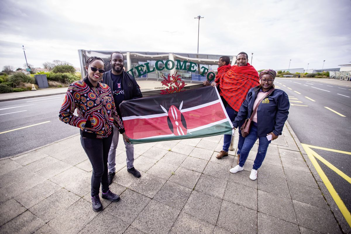 There to greet the new arrivals were, left to right, Samperu Ndegwa, Brian Were, Joseck Mwangi and Cathy Wanyoike. (Picture by Sophie Rabey, 29403725)