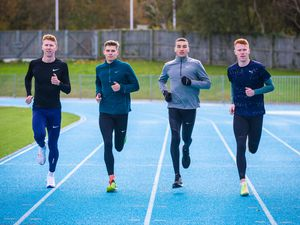 Picture By Peter Frankland. 03-11-20 Elite runners from the UK have joined forces with the Chalmers brothers to train in Guernsey and take advantage of the lack of Covid-19 restrictions. L-R - Cameron Chalmers, Ben Claridge, Joe Reid and Alastair Chalmers.. (29079925)