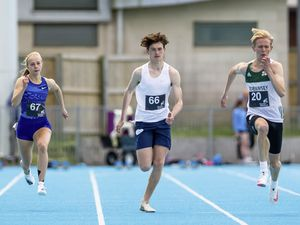 Guernsey Athletics Track Meeting at Footes Lane. Abi Galpin, Tim Ap Sion and Josh Duke.Picture by Martin Gray, www.guernseysportphotography.com, 23-05-21. (29583519)