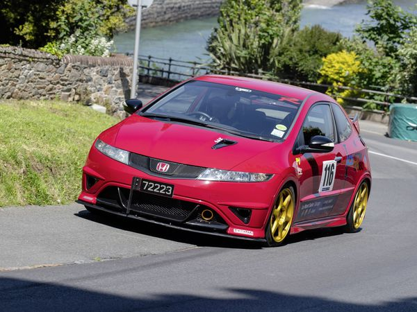Pic supplied by Andrew Le Poidevin: 31-05-2021...Guernsey Kart & Motor Club hill climb at Les Val des Terres. Lee Poole drove his well prepared Honda Civic Type R to a new Road Going up to 2000cc record.. (29608034)