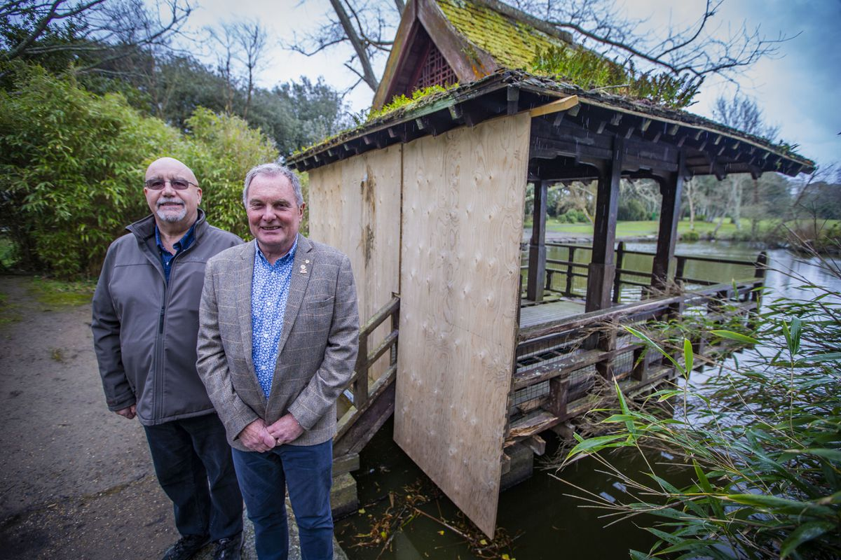 The Rotary Club of Guernsey is taking on the job of building a new Japanese Pavilion at Saumarez Park but there have been reports of bats potentially roosting in the roof, which has prompted an emergency inspection. Pictured are club members Dave Parish, left, and Brian Acton. (Picture by Sophie Rabey, 29610813)