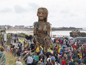 Giant puppet called Storm wows onlookers in seafront performance