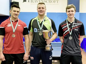 CI Open Top 12 table tennis tournament at the Guernsey Table Tennis Centre, Hougue du Pommier, 26-01-19.The Medallists: (left to right) bronze Mariusz Cieminski, gold Garry Dodd and silver Josh Stacey.Picture by Mark Windsor. (23734042)