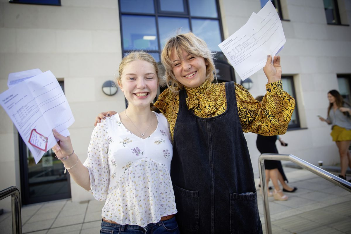 A-Level results day 2020. Ladies College. Left to right: Katie Connolly and Maisie Bisson - both 18. (Picture by Peter Frankland, 28577171)
