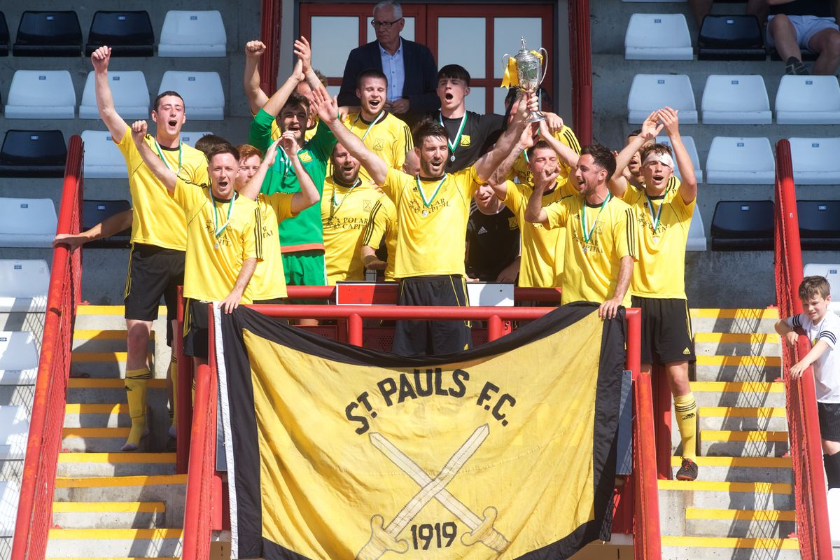 St Paul's lifting the Jeremie Cup in 2019.(Picture by Jon Guegan, 29626956)