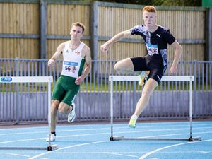 Picture by Sophie Rabey.  26-07-20.  Athletics actoin at Footes Lane.  Track and Field..400m Hurdles.  Alastair Chalmers new record.. (28509839)