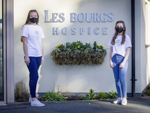 Picture by Sophie Rabey.  25-02-21.  Zoe Collins and Paige Zabiela are doing a 'help out by not going out' fundraiser during the Second Covid-19 Lockdown.. (29285238)