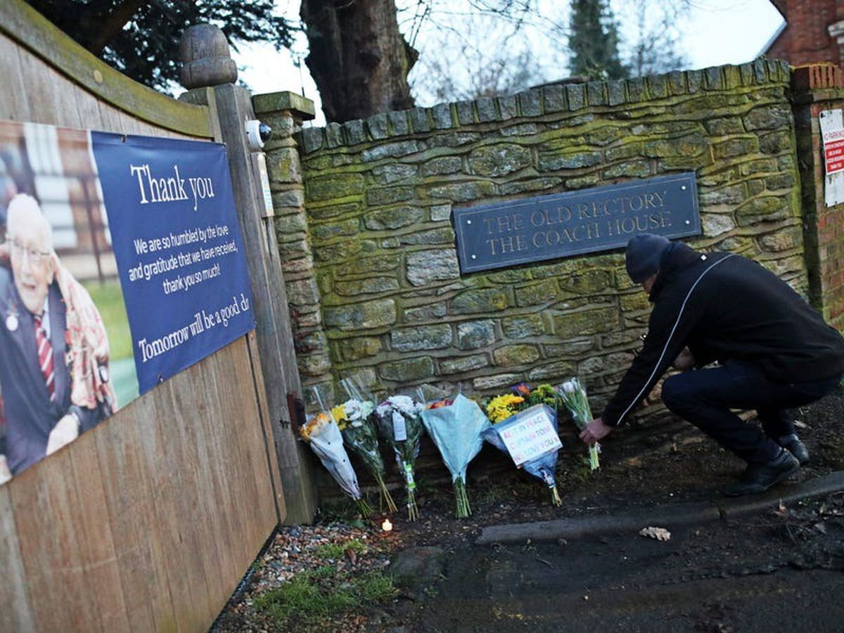 Villagers pay tribute to their neighbour Captain Tom