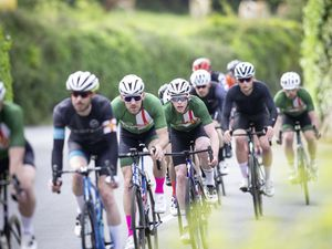 Josh Saunders, second from right in the black outfit, won his second race in the space of a week in the Liberation Day Road Race. (Picture by Peter Frankland, 29528007)