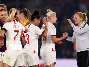 Sarina Wiegman leads England to thumping qualifying victory on debut in dugout