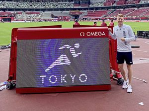 Cameron Chalmers at the Olympic Stadium in Tokyo. Picture from @CamChalmers400, 28-07-21 (29808382)