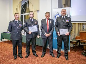 Left to right: Chief of Police Ruari Hardy, Police Sergeant Jon Walker, President of Home Affairs Deputy Rob Prow with Police Sergeant Craig Aitken. (Picture by Sophie Rabey, 28918063)
