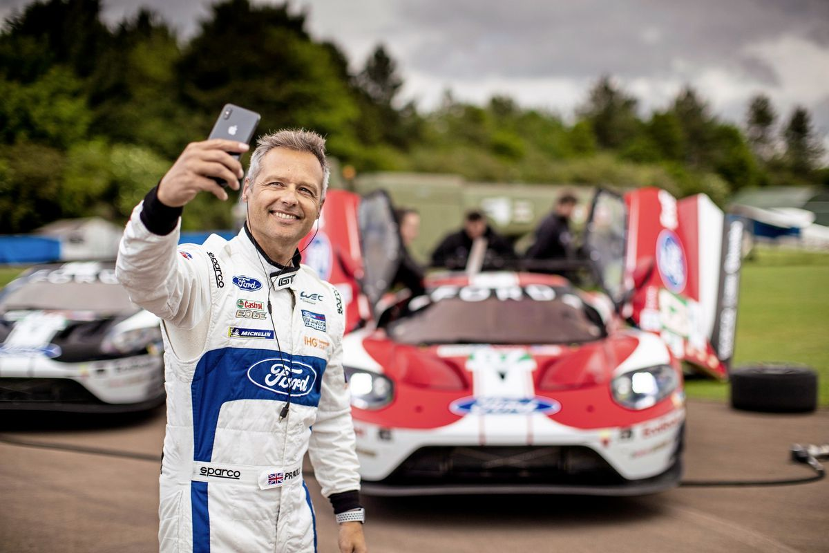 Andy Priaulx takes a selfie in front of his No. 67 Ford GT that has a special livery for Le Mans. (Picture by Drew Gibson Photography, 24909307)