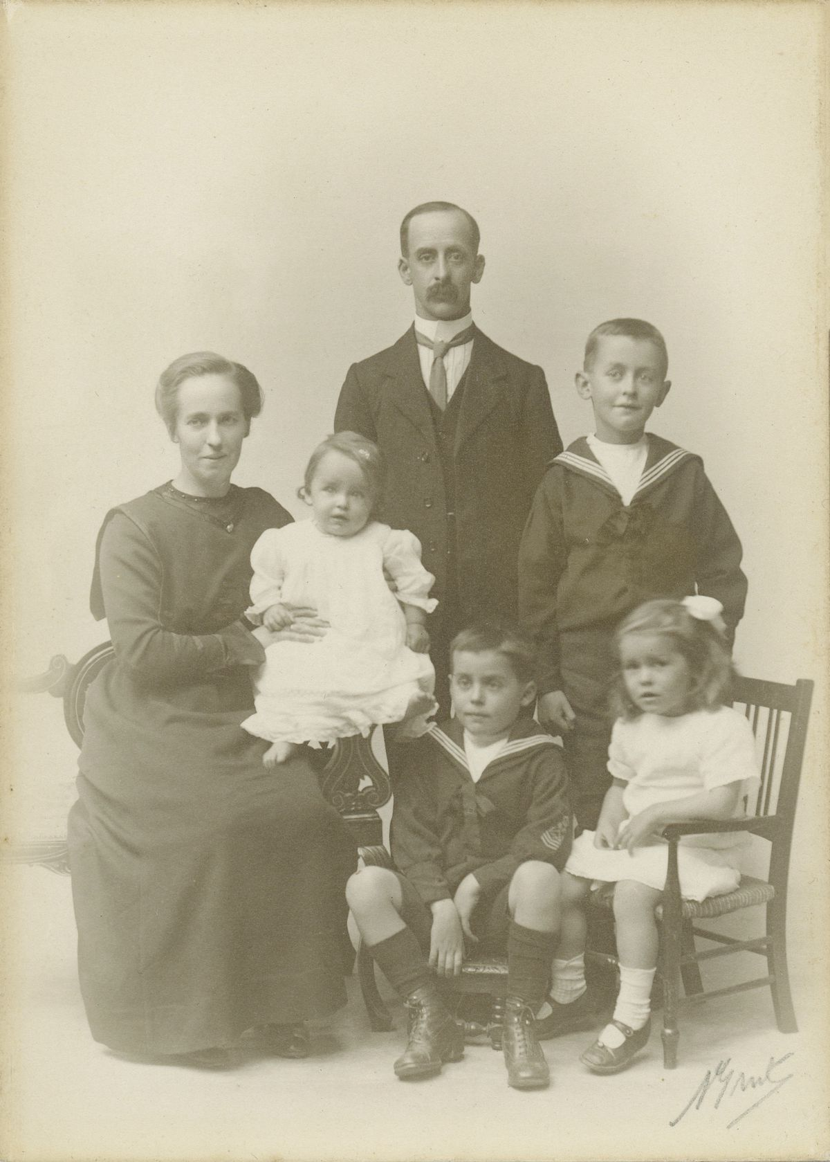 Collas Family, 1919: John William Collas (standing), left to right: Mary Alice Collas (née Bichard), Peter Renouf Collas, Edward Domaille Collas, John Peter Collas (standing), Marion Bichard Collas. (Picture courtesy of the Collas family) (29956869)