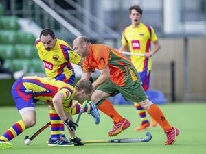 Guernsey Hockey, Independents (Indies) v Colombians, Mens Division 1, Footes Lane. Steve Waldrom goes past Andrew Dawson-Ball.www.guernseysportphotography.com .Picture by Martin Gray, 17-10-20. (28810694)