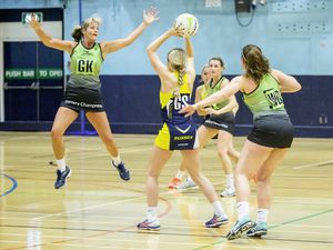 Panthers GK Lorna Hall makes herself big to prevent a pass against Sussex Lightning yesterday. (Picture by Sophie Rabey, 26524039)