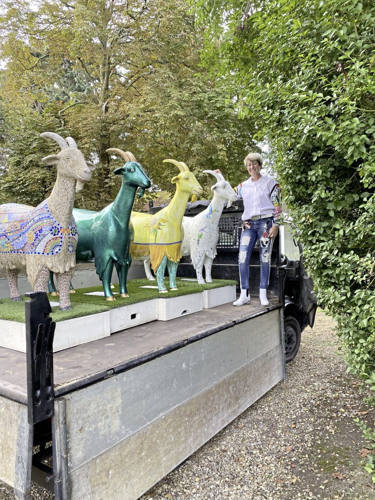 Catherine Best with Amazing Technicolour Dream Goat, Derpy Goat, Vincent Van Goat and Hamilton, who she has now renamed Doc. (29998120)