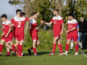 Pic supplied by Andrew Le Poidevin: 11-05-2021..Football - Sylvans v Belgrave Wanderers play at St Peters in the Guernsey FA Cup quarter-finals. Kyle Smith congratulated on one of his goals. (29539638)
