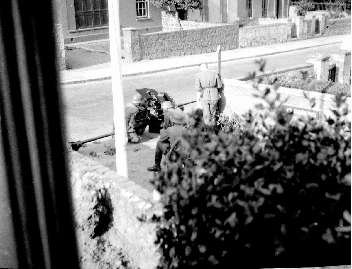 Germans set up Pak anti tank gun, SJAB HQ. (Picture copyright of Gary Blanchford )