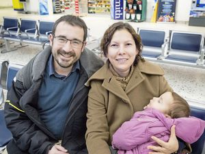 Among the passengers on the last Aurigny flight from Dinard were Thomas Redouin, his wife Nana Lima and two-year-old daughter Maya. (Picture by Adrian Miller, 23537253)