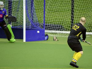 HOCKEY Casuals v. Colombians at Footes Lane, 14-11-20. Alex Bushell shoots and goalkeeper Jake Le Marchant is about to save.
