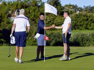 GOLF La Grande Mare Club Championships, 30-08-20. Ollie Chedhomme shakes hands with CJ Elmy and Dave Jeffery.Picture by Gareth Le Prevost. (28638477)