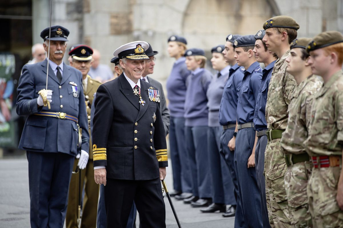 The Lt-Governor, Vice Admiral Sir Ian Corder, inspected the parade in Church Square.