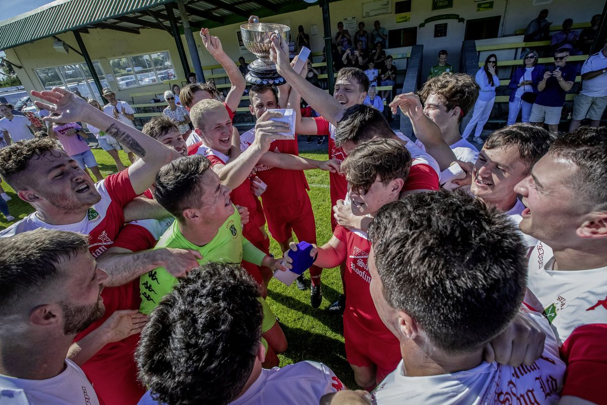 Red rule: Sylvans players begin their FA Cup celebrations. (Picture by Martin Gray, 29650801)
