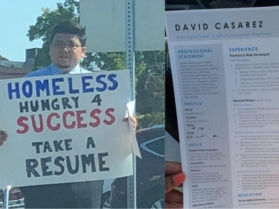 Homeless man who handed out CVs on the street has finally landed a job